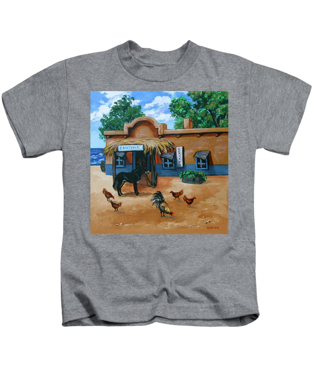 Art Kids T-Shirt featuring the painting La Cantina by Karon Melillo DeVega