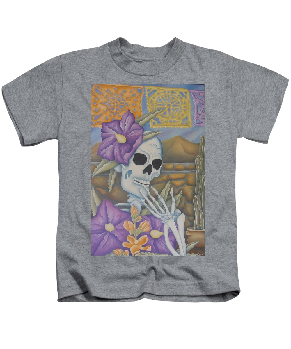 Calavera Kids T-Shirt featuring the painting La Coqueta- The Coquette by Jeniffer Stapher-Thomas