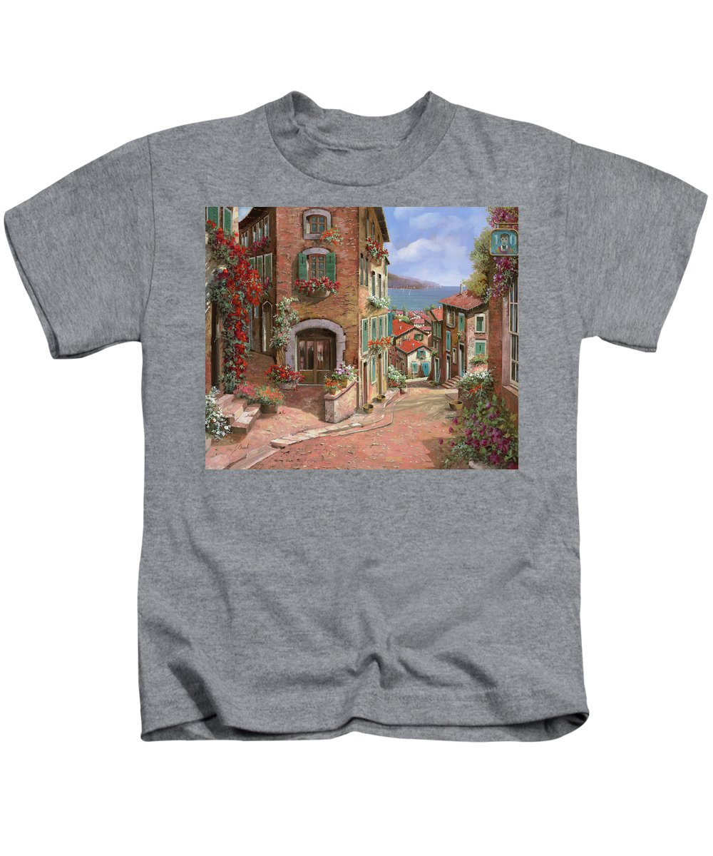 Seascape Kids T-Shirt featuring the painting La Discesa Al Mare by Guido Borelli