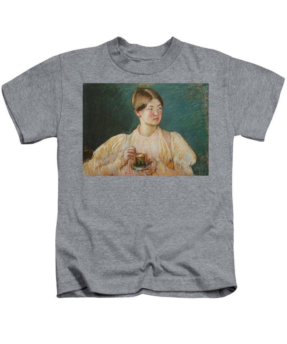 La Tasse De The Kids T-Shirt featuring the painting La Tasse De by Mary Cassatt