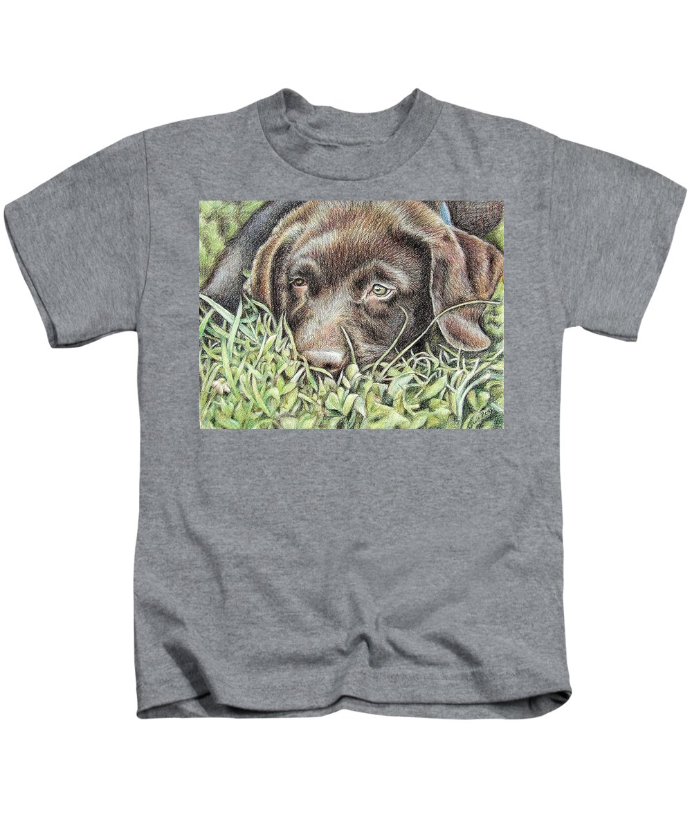 Dog Kids T-Shirt featuring the pastel Labrador Puppy by Nicole Zeug