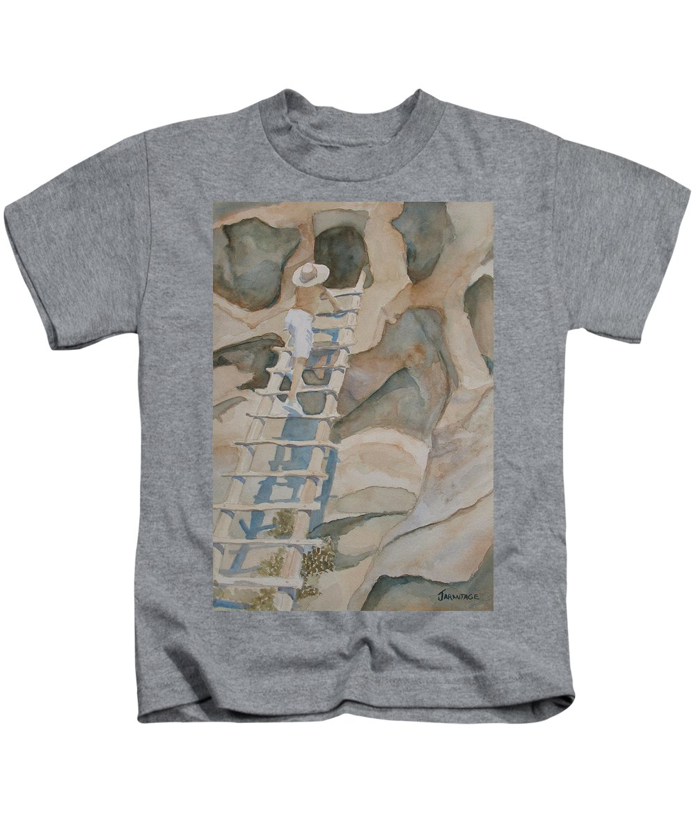 Ruins Kids T-Shirt featuring the painting Ladder To The Past by Jenny Armitage