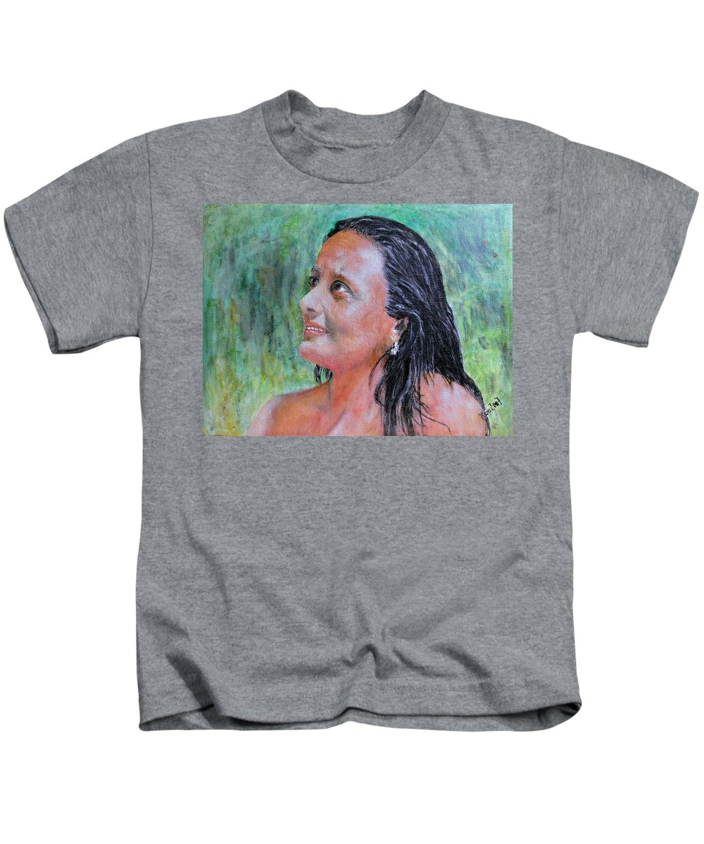 Lady Kids T-Shirt featuring the painting Lady Of India by Helmut Rottler