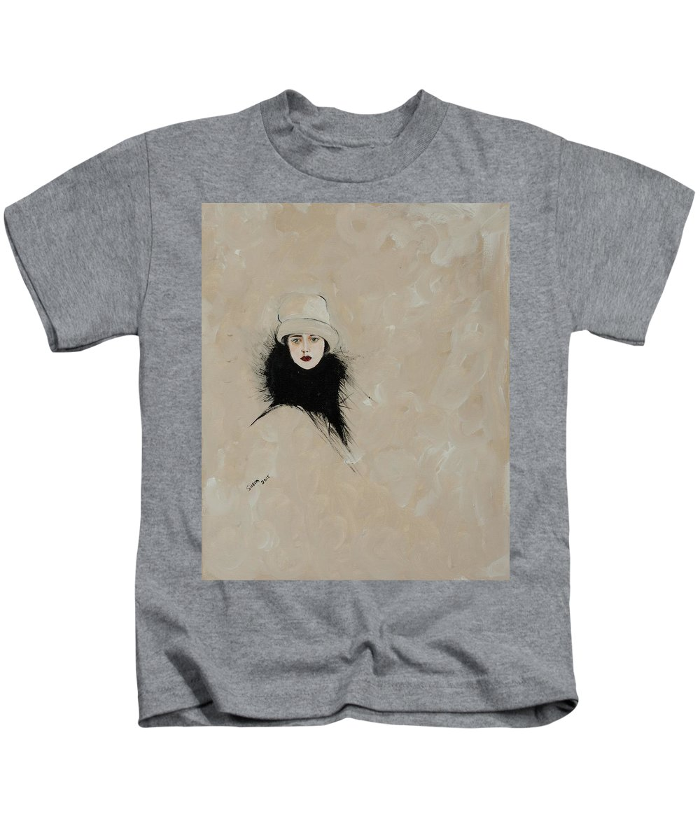 Lady With Black Fur Kids T-Shirt featuring the painting Lady With Black Fur by Susan Adams