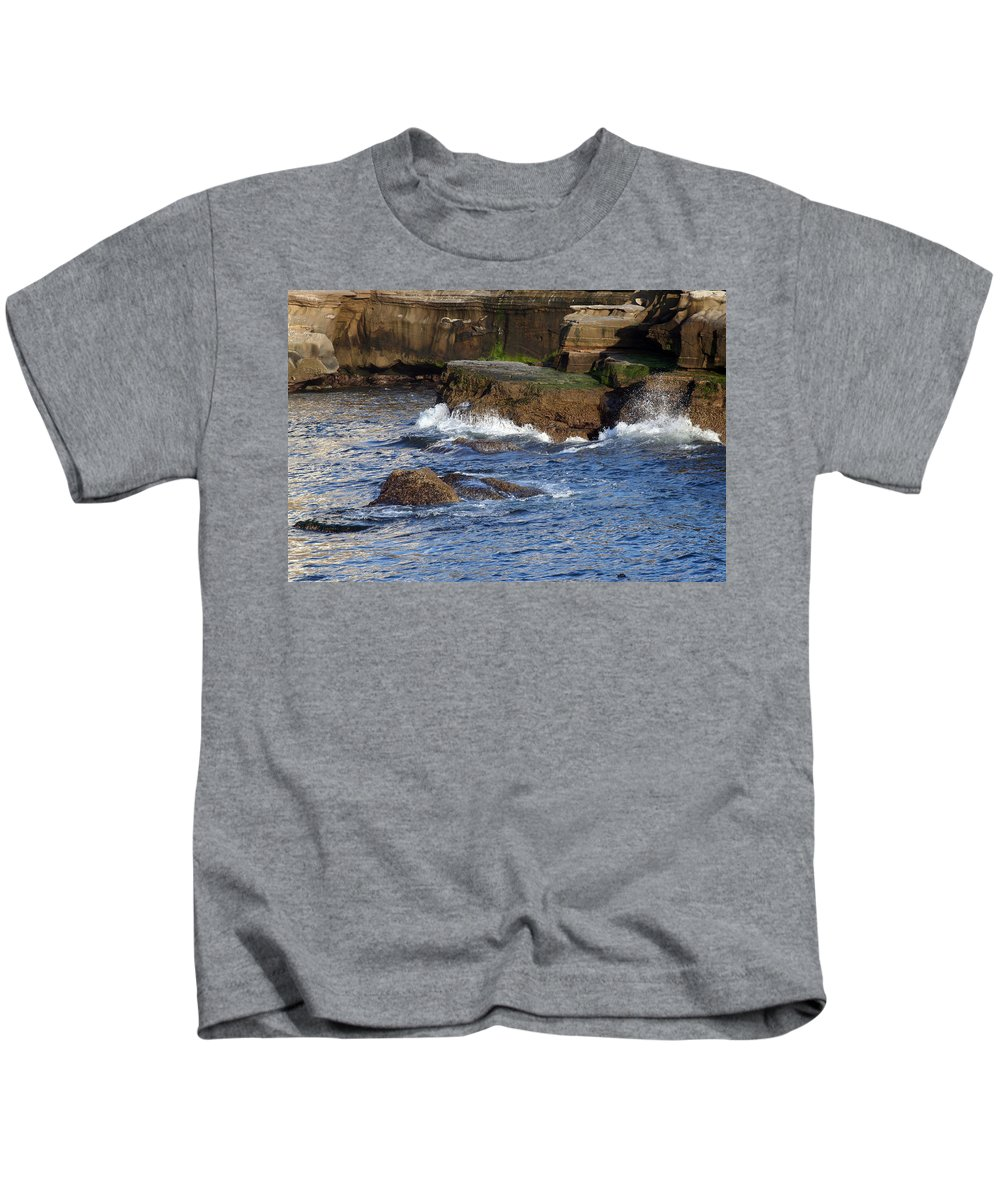 Ocean Kids T-Shirt featuring the photograph Lajolla Rocks by Margie Wildblood