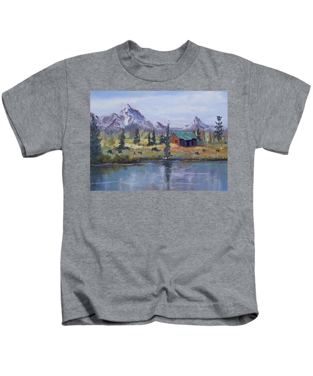 Pastel Landscape Kids T-Shirt featuring the painting Lake Jenny Cabin Grand Tetons by Heather Coen