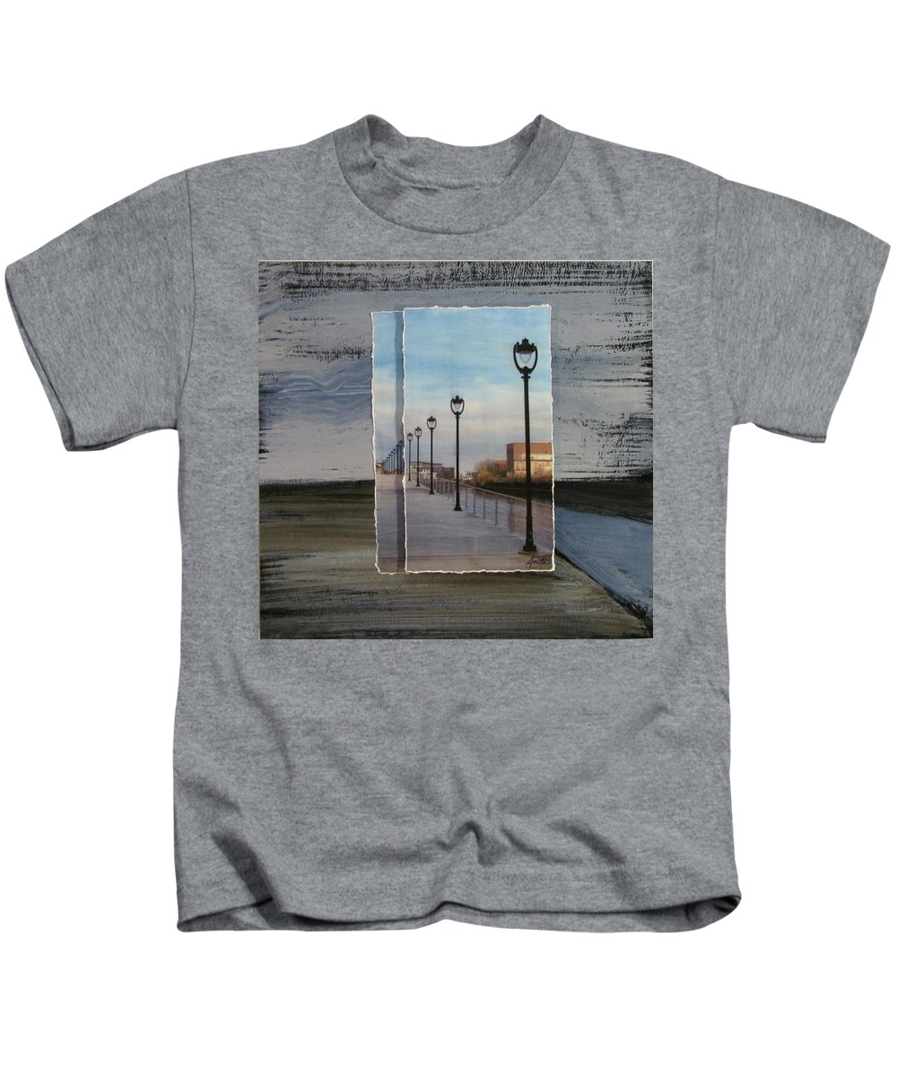 Lamp Post Kids T-Shirt featuring the mixed media Lamp Post Row Layered by Anita Burgermeister