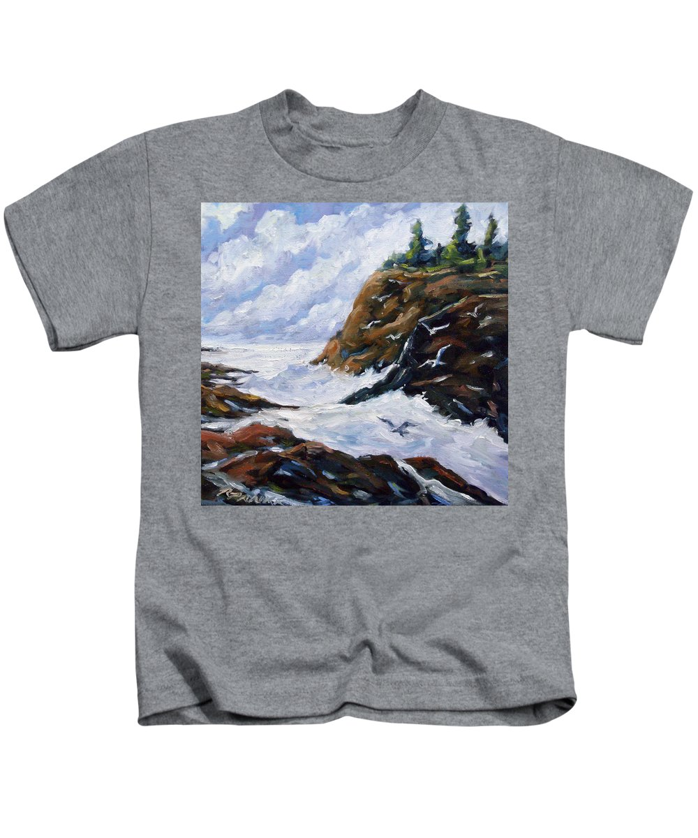 Art Kids T-Shirt featuring the painting Lands End by Richard T Pranke