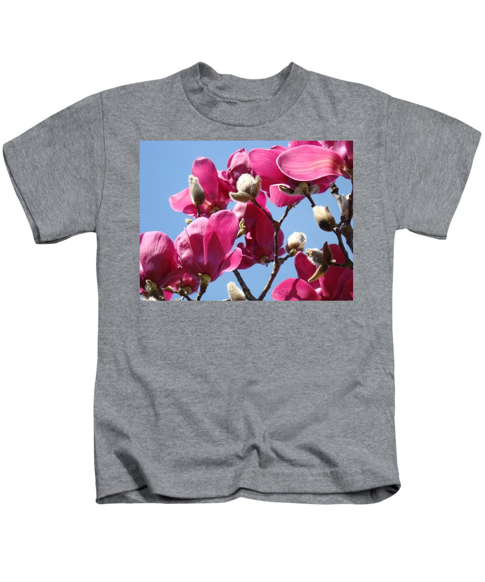 Magnolia Kids T-Shirt featuring the photograph Landscape Pink Magnolia Flowers 46 Blue Sky Magnolia Tree by Baslee Troutman