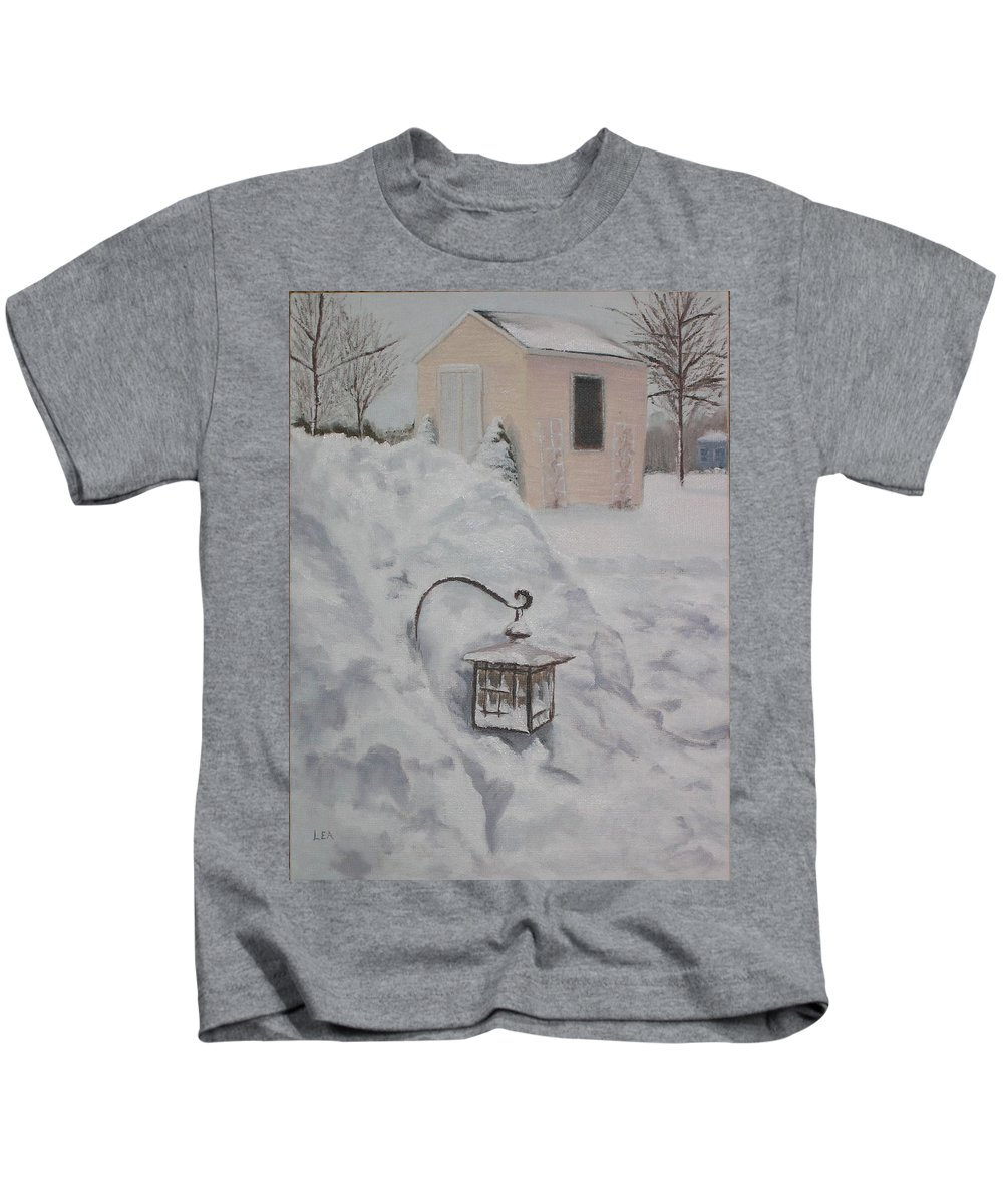 Snow Kids T-Shirt featuring the painting Lantern in the Snow by Lea Novak