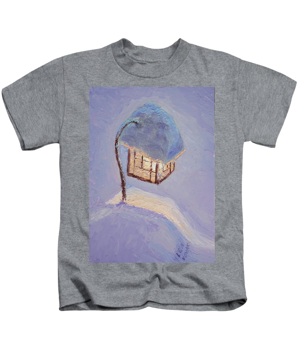 Lantern Kids T-Shirt featuring the painting Lantern Light On A Snowy Evening by Lea Novak