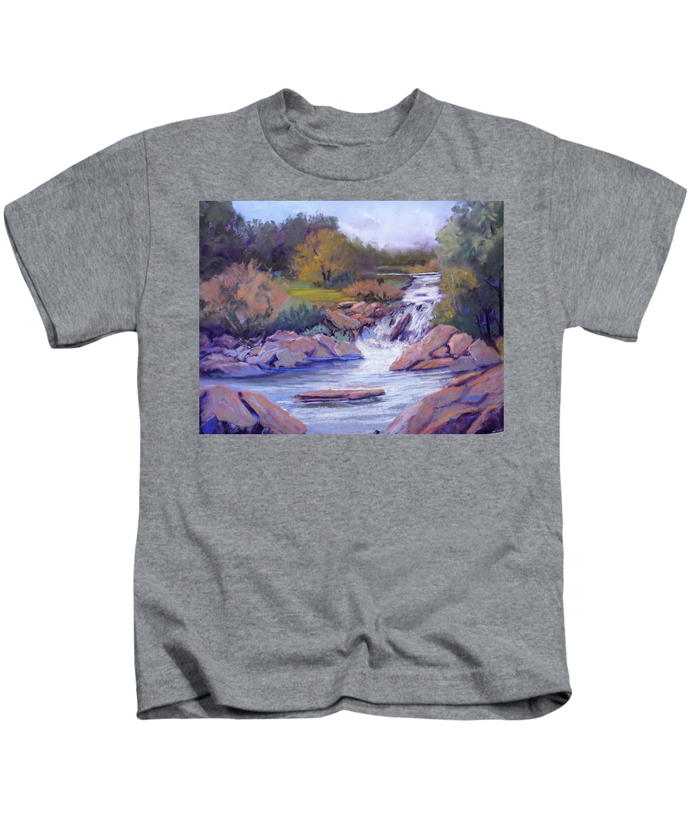 Pastel Kids T-Shirt featuring the painting Larsen Falls by Heather Coen
