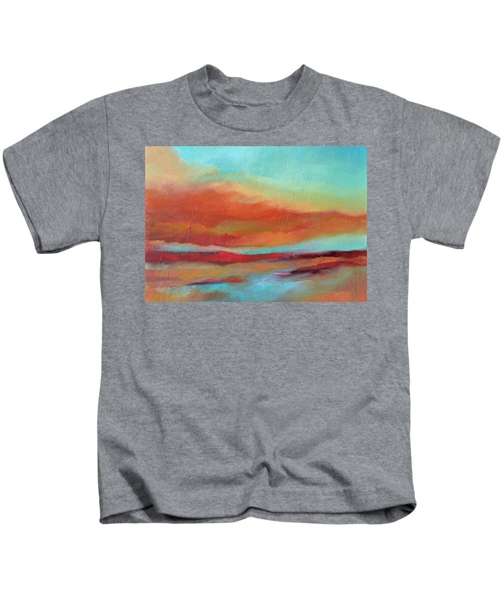 Sunset Kids T-Shirt featuring the painting Last Light by Filomena Booth