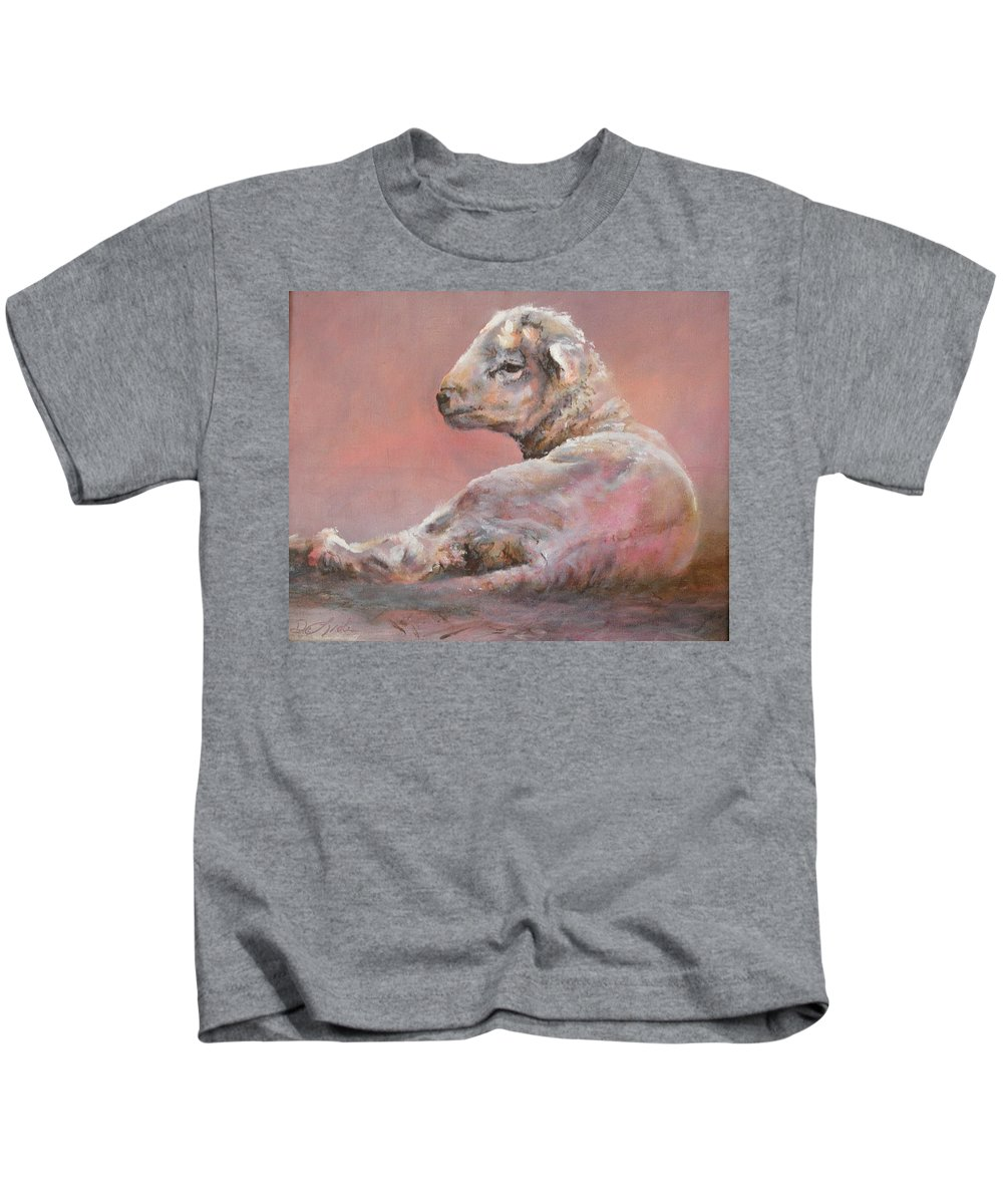 Sheep Kids T-Shirt featuring the painting Last Light by Mia DeLode