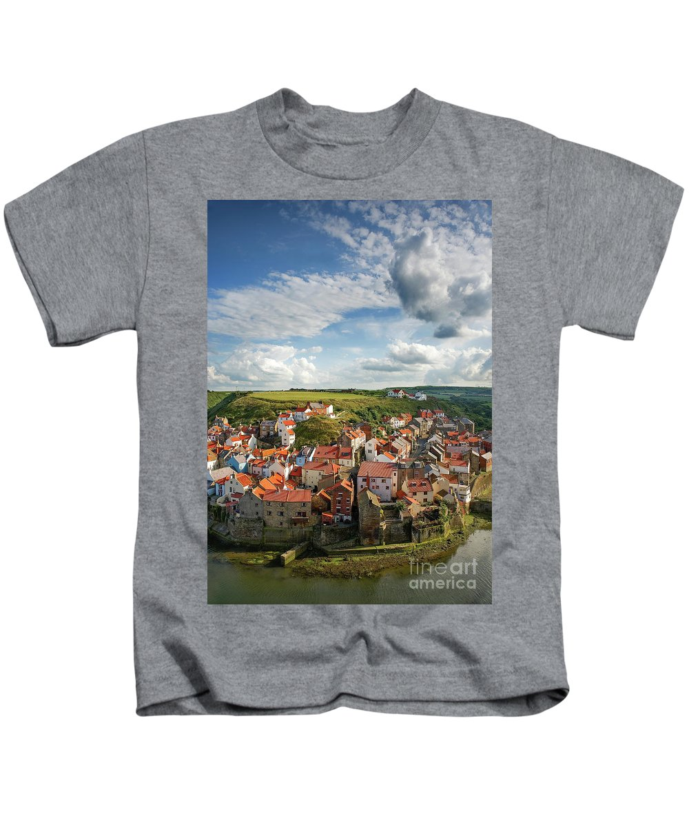 Staithes Village Kids T-Shirt featuring the photograph Late Afternoon Light On Staithes by Richard Burdon