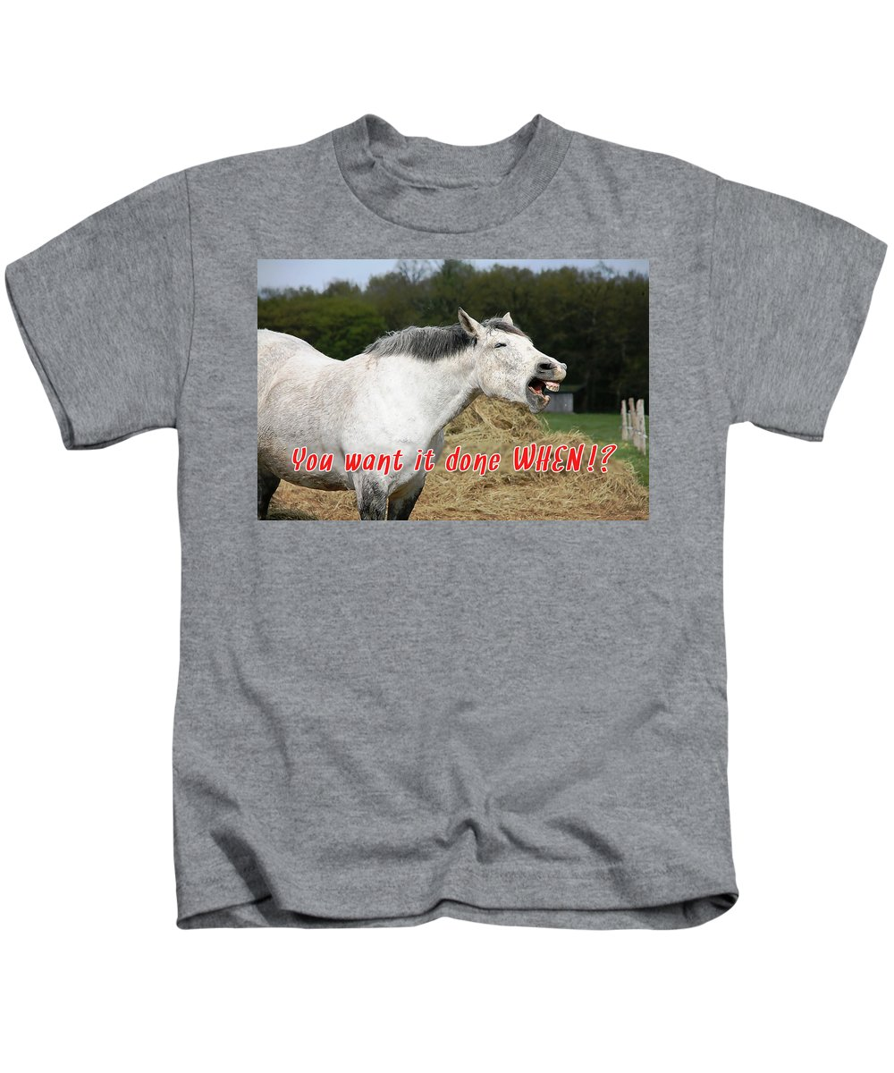 Inspirational Kids T-Shirt featuring the photograph Laughing Horse Done When? by Elaine Plesser