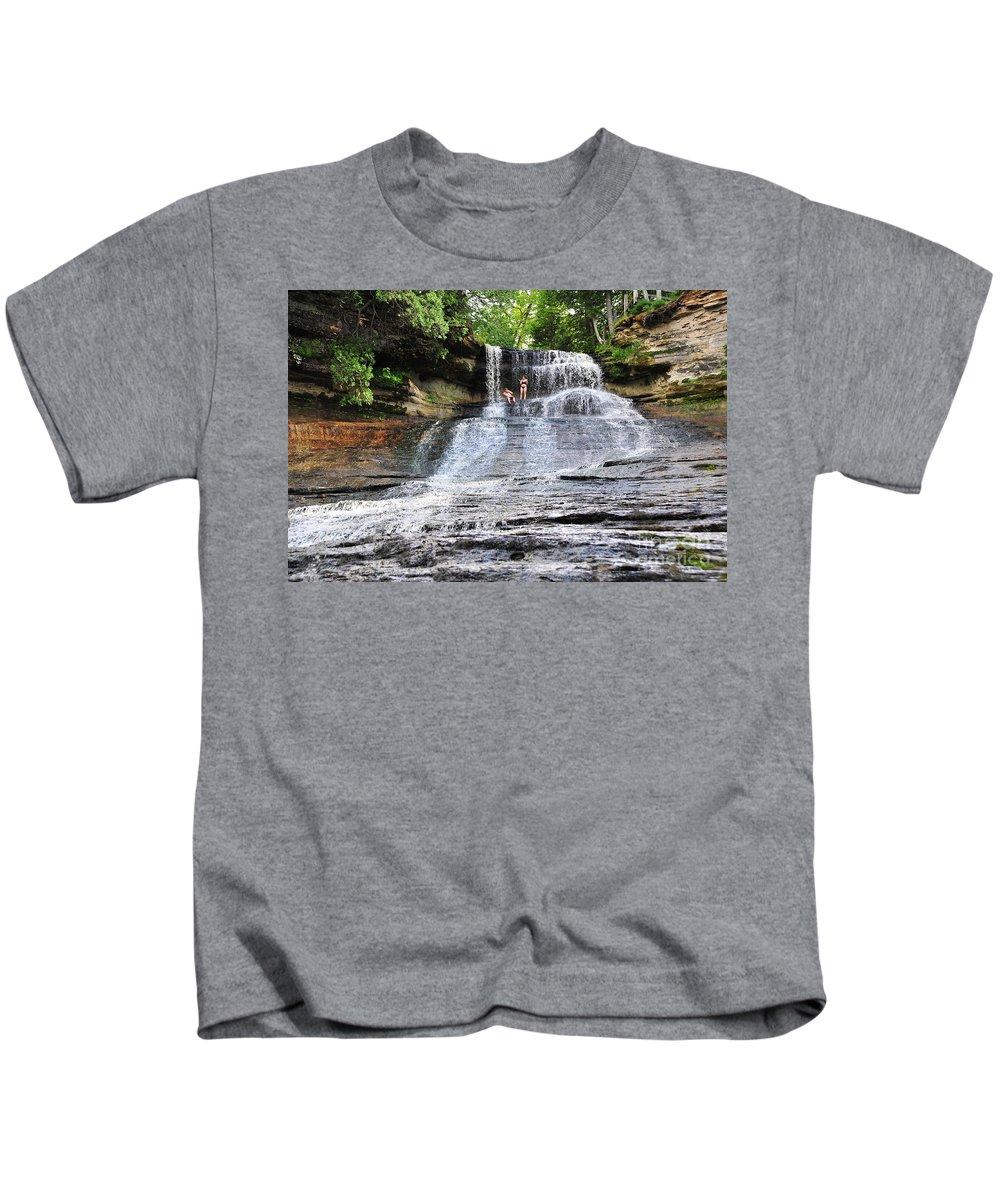 Waterfall Kids T-Shirt featuring the photograph Laughing Whitefish Waterfall In Michigan by Terri Gostola