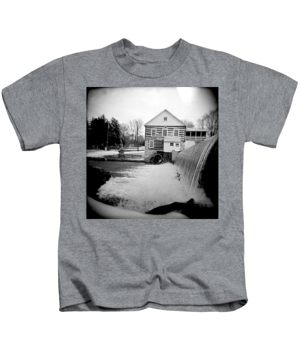 Photograph Kids T-Shirt featuring the photograph Laughlin Mill by Jean Macaluso