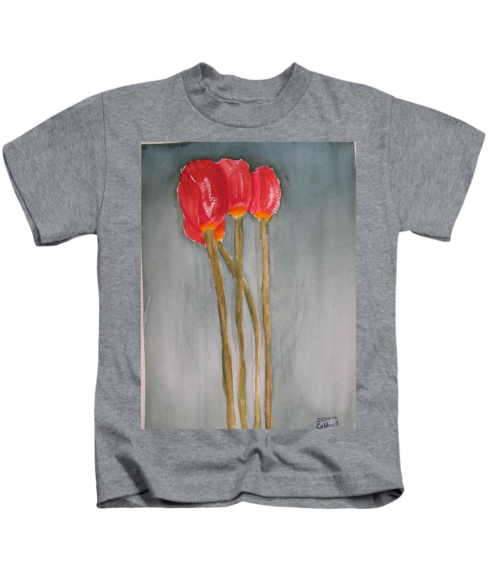 Tulip Flower Bouquet Kids T-Shirt featuring the painting Laura by Patricia Caldwell