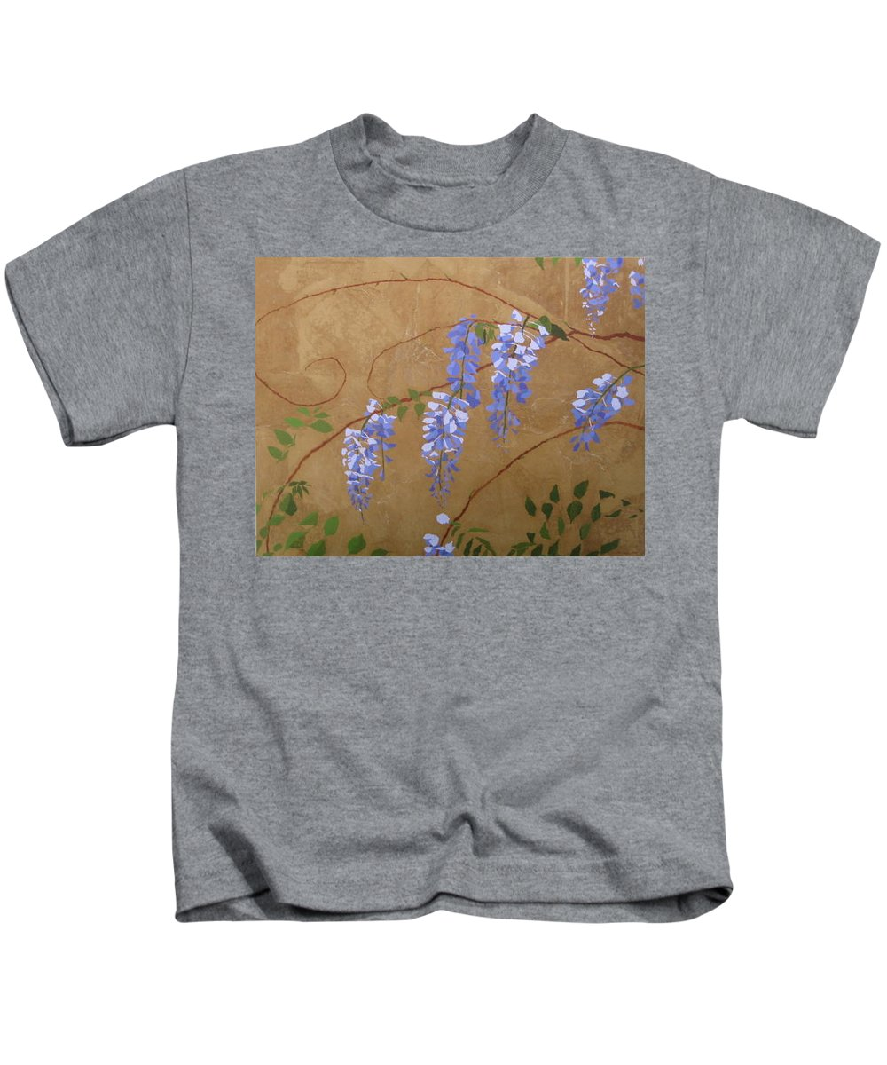 Floral Kids T-Shirt featuring the painting Laurels Wisteria by Leah Tomaino