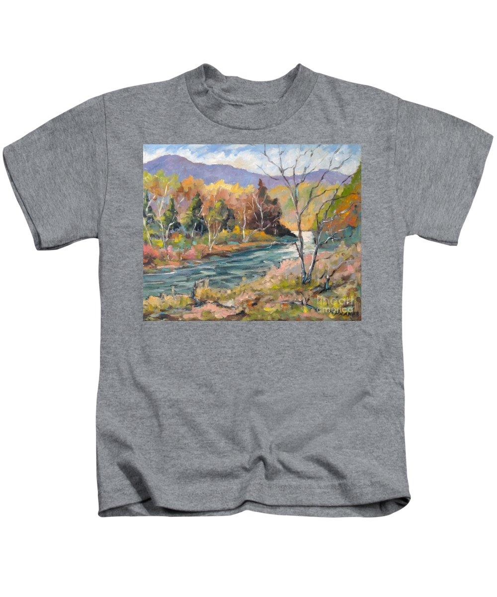 Landscape Kids T-Shirt featuring the painting Laurentian Hills by Richard T Pranke