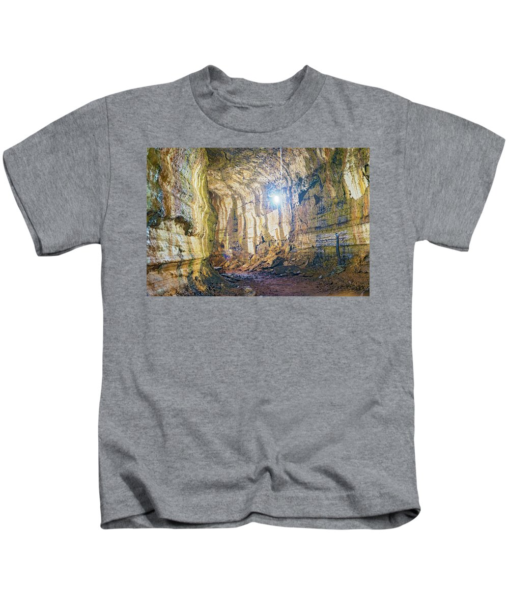 Tunnel Kids T-Shirt featuring the photograph Lava Tunel On Santa Cruz Island, Galapagos by Marek Poplawski