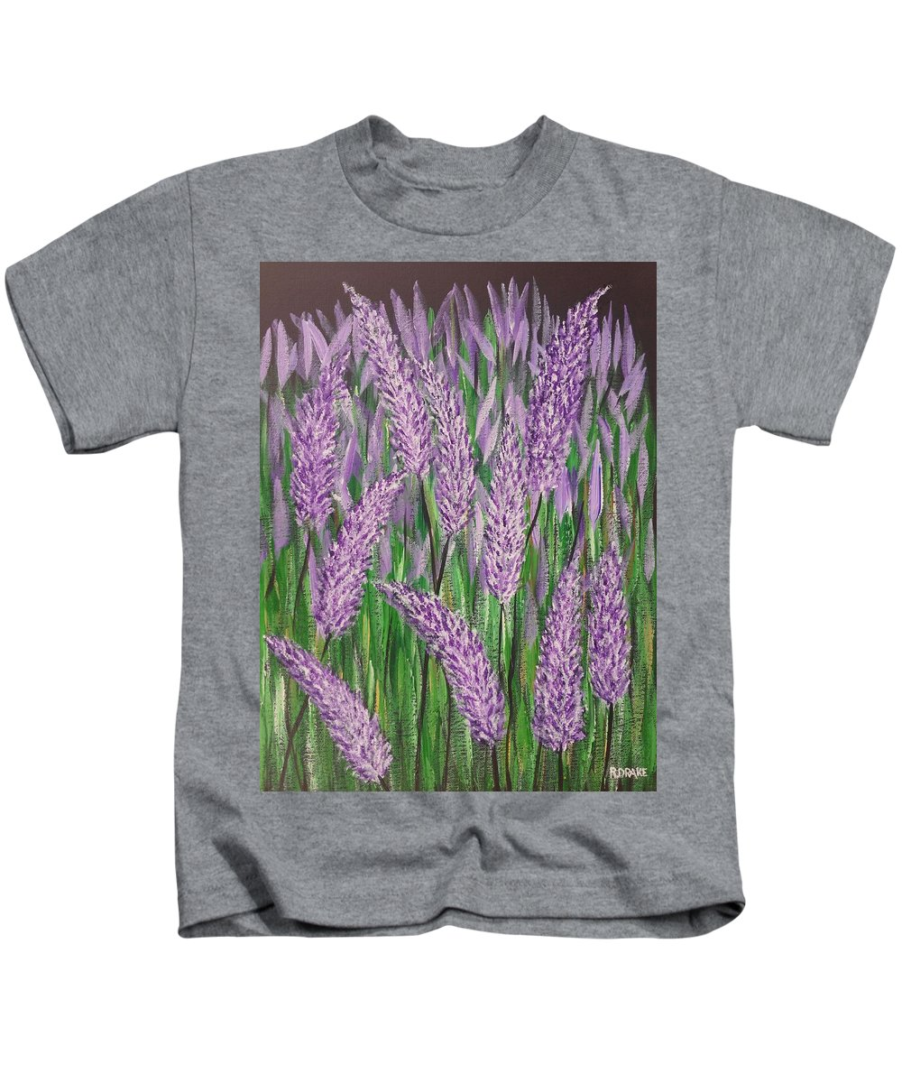 Lavender Kids T-Shirt featuring the painting Lavender Blooms by Richard Drake