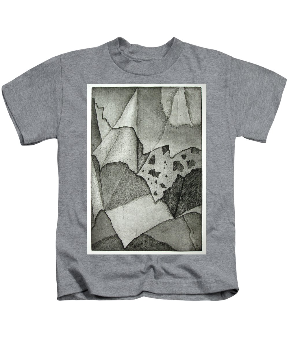 Etching Kids T-Shirt featuring the drawing Layers by Nancy Mueller