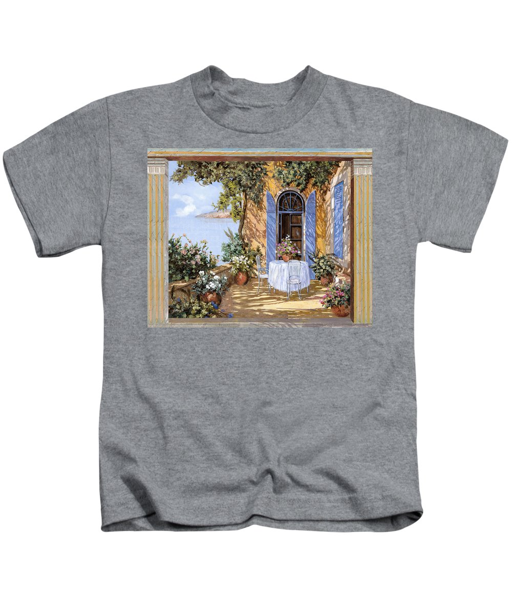 Blue Door Kids T-Shirt featuring the painting Le Porte Blu by Guido Borelli