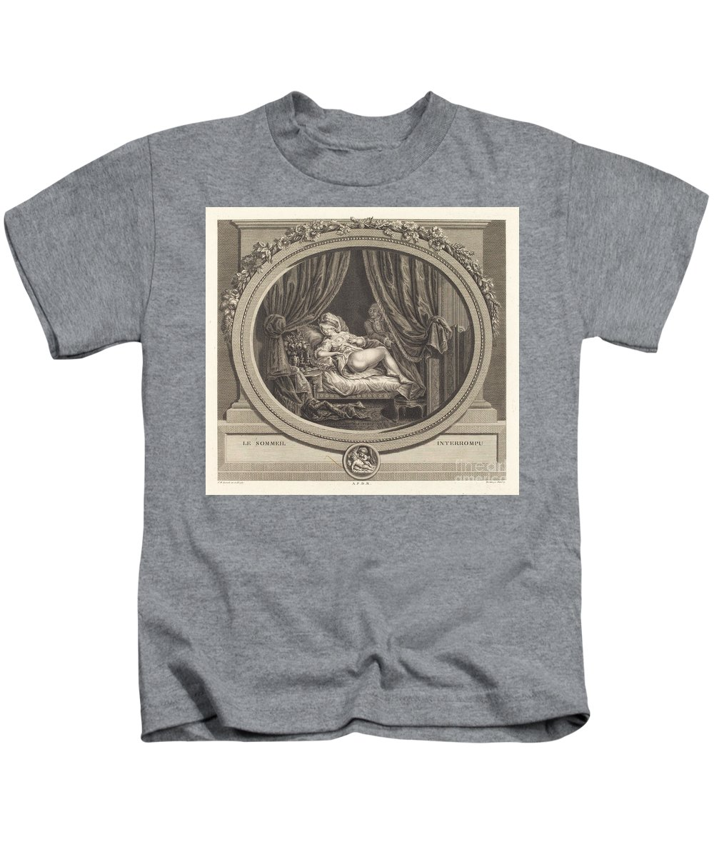 Kids T-Shirt featuring the painting Le Sommeil Interrompu by Jean Dambrun After Fran?ois Marie Isidore Queverdo