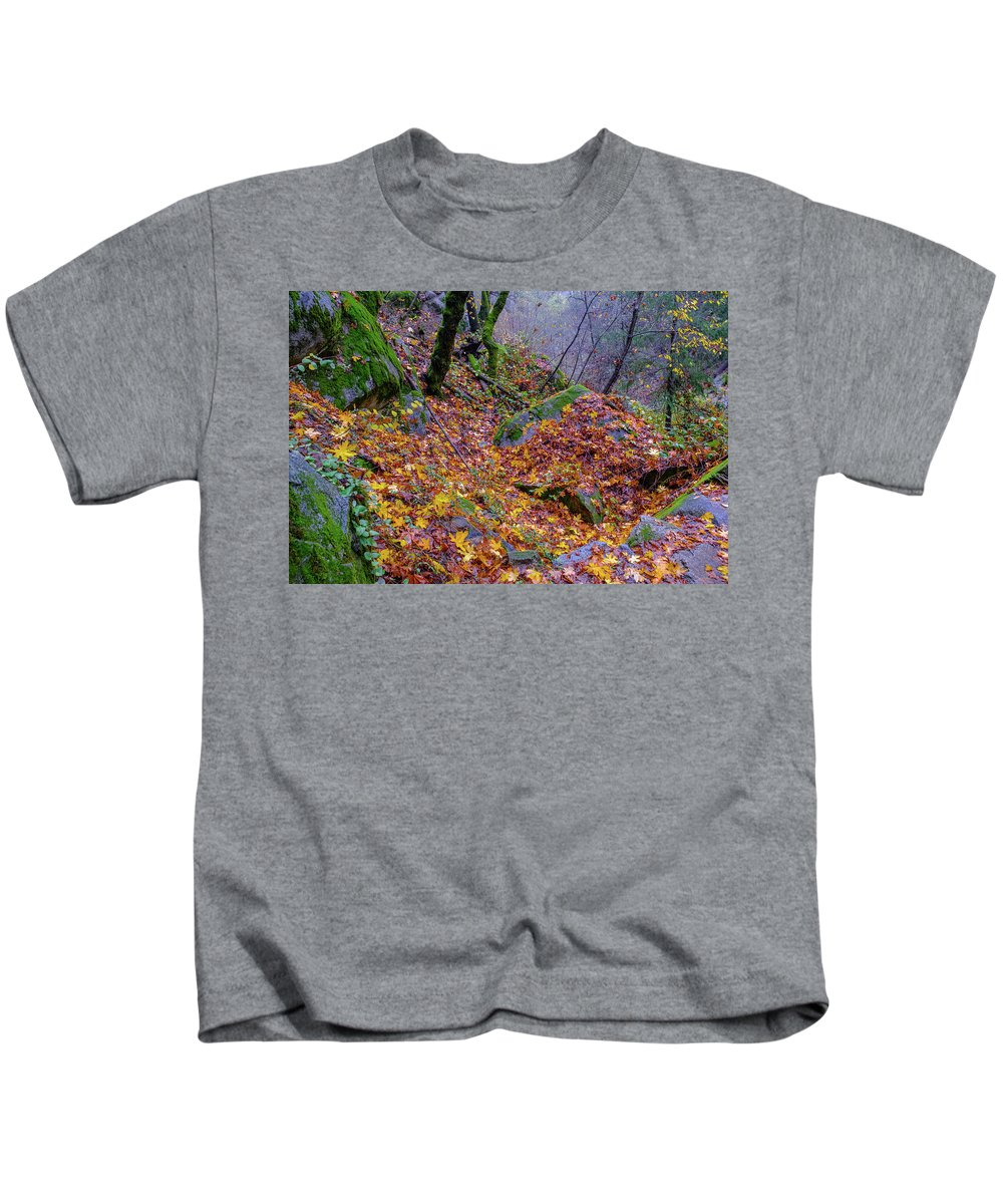 Deer Creek Kids T-Shirt featuring the photograph Leaves Of The Forest by Robin Mayoff