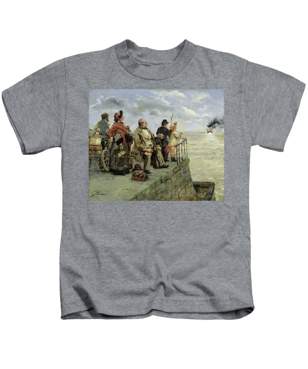 Leaving Kids T-Shirt featuring the painting Leaving For Jersey by Guillaume Romain Fouace