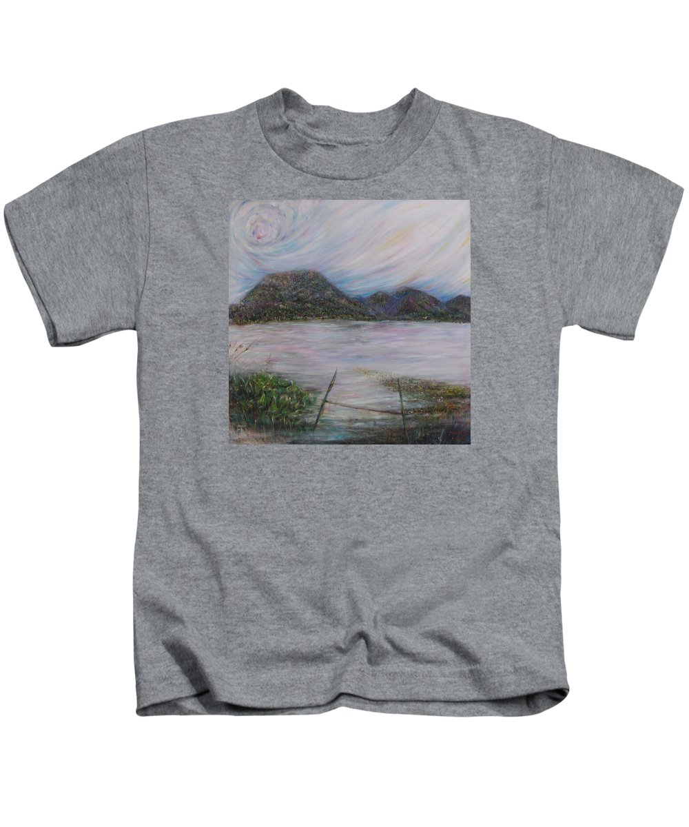 Thailand Kids T-Shirt featuring the painting Legend Of The Mountain by Sukalya Chearanantana
