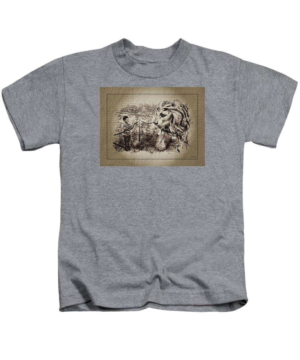Jean Francois Gil Kids T-Shirt featuring the photograph L'enfant Et Le Lion by Jean Francois Gil