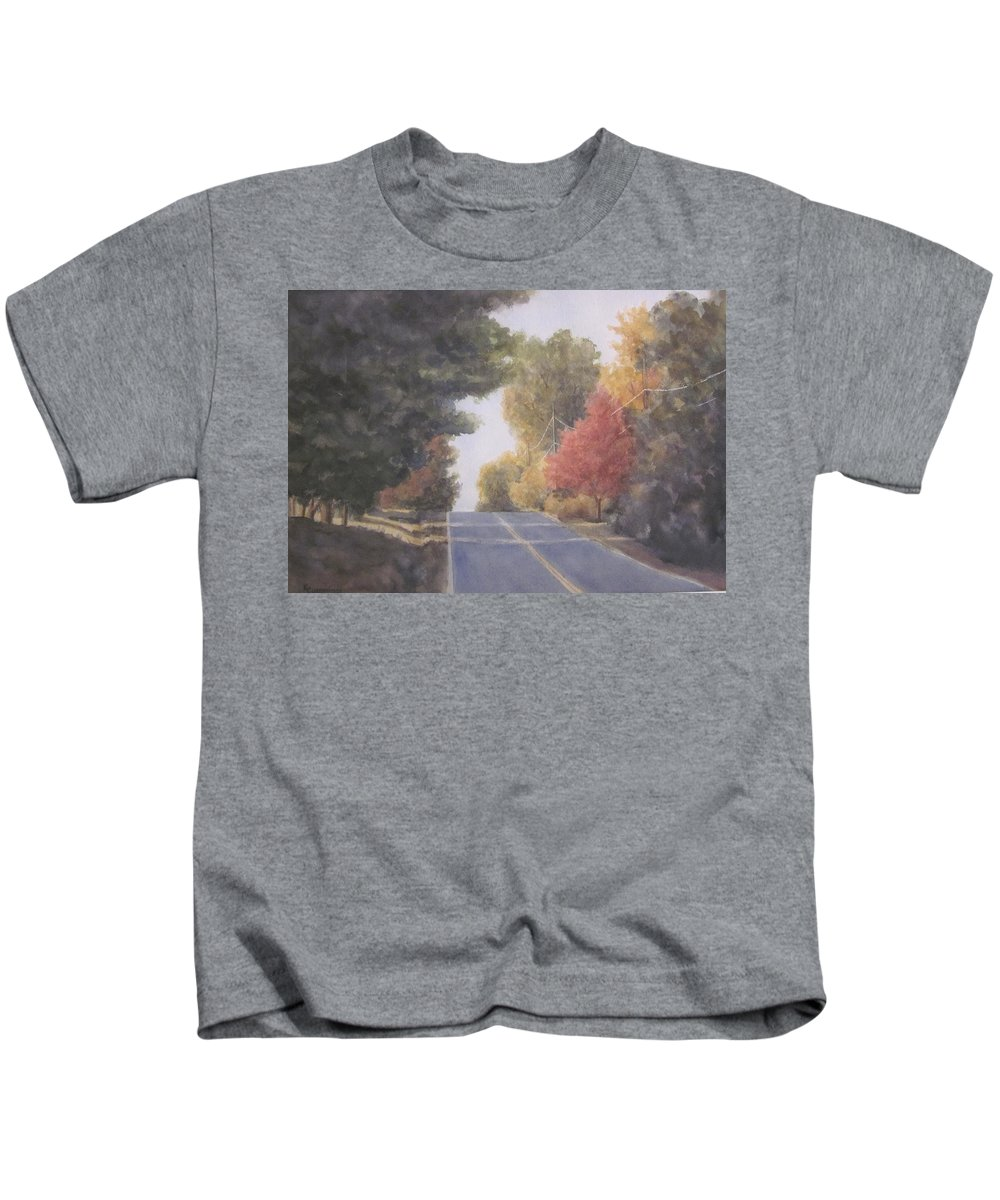 Landscape Kids T-Shirt featuring the mixed media Lengthening Shadows by Karen Cummings