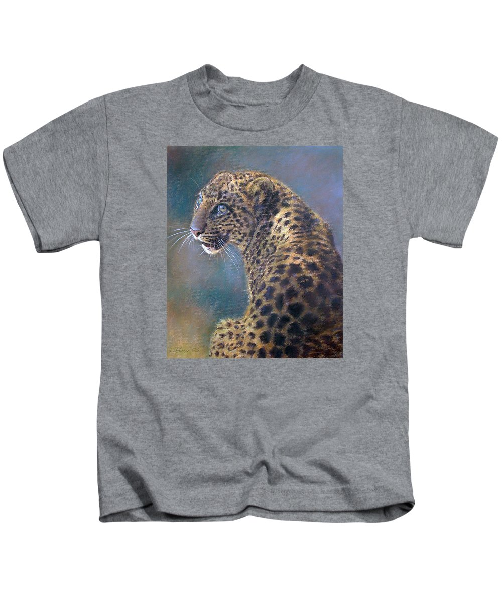 Cats Kids T-Shirt featuring the painting Leopard by Iliyan Bozhanov