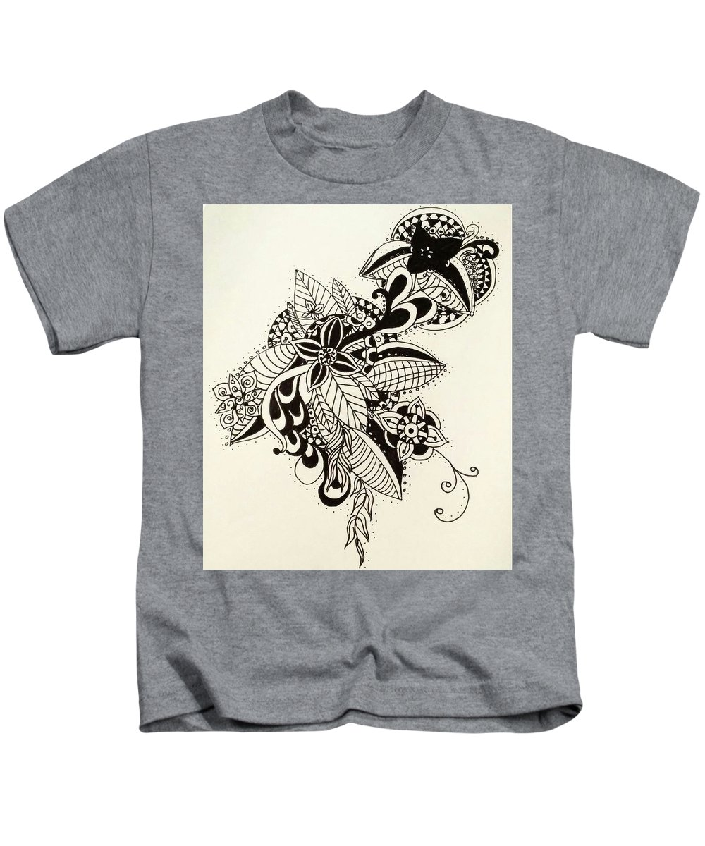 Abstract Kids T-Shirt featuring the drawing Let Your Pen Flow by LaLa Creates