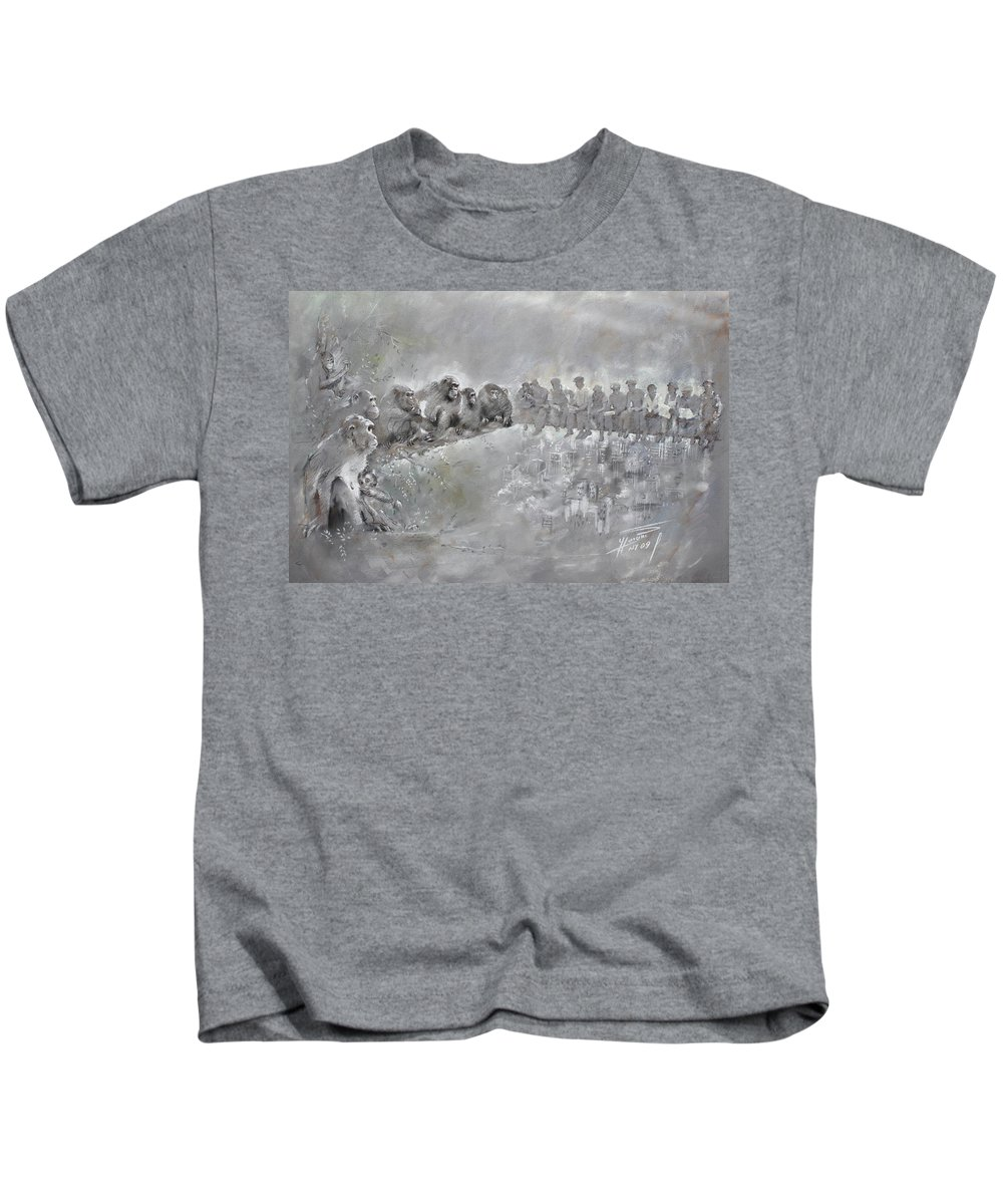 Fine Art Kids T-Shirt featuring the drawing Let's Talk... by Ylli Haruni