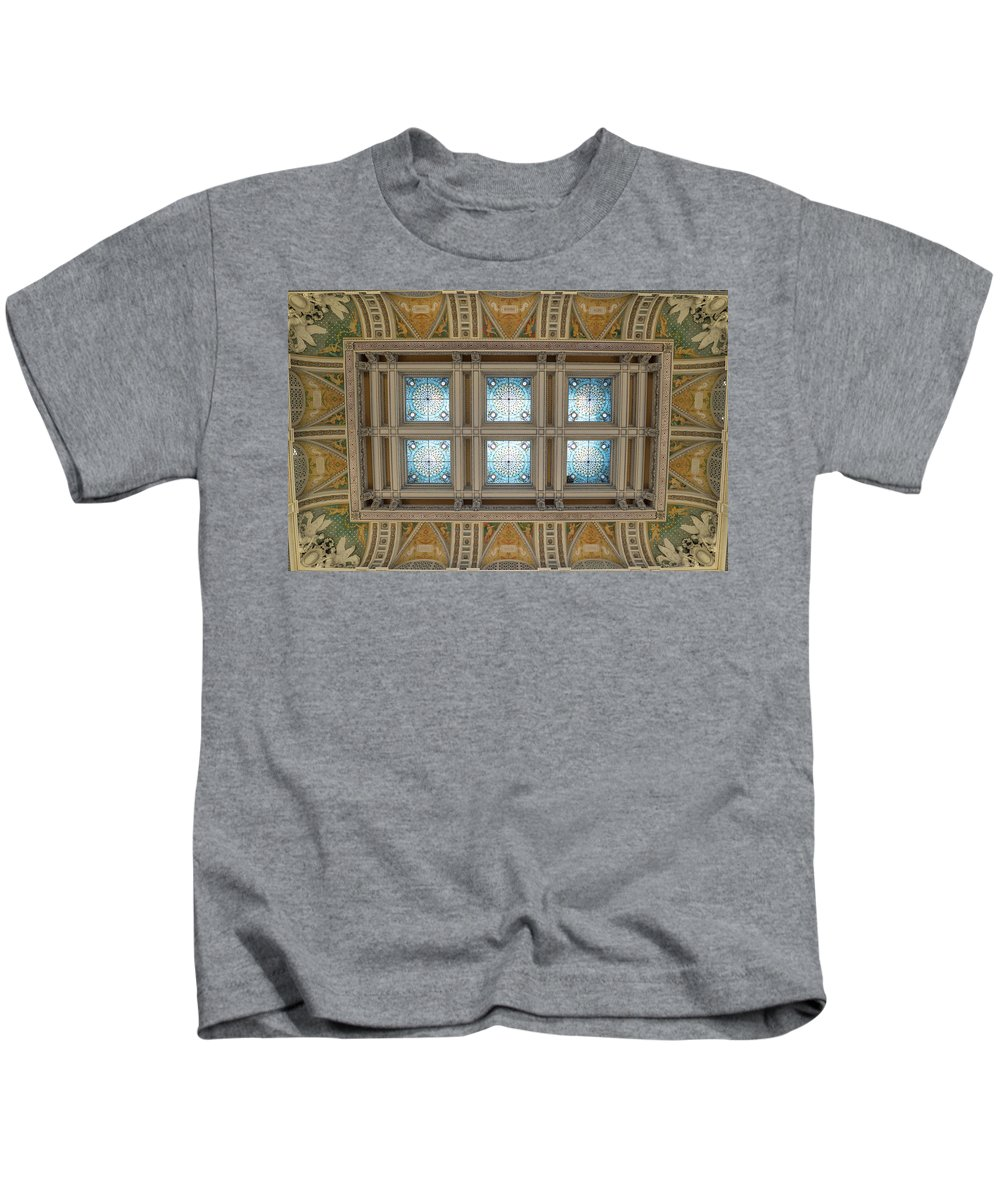 Kids T-Shirt featuring the photograph Library Of Congress Ceiling by Jared Windler