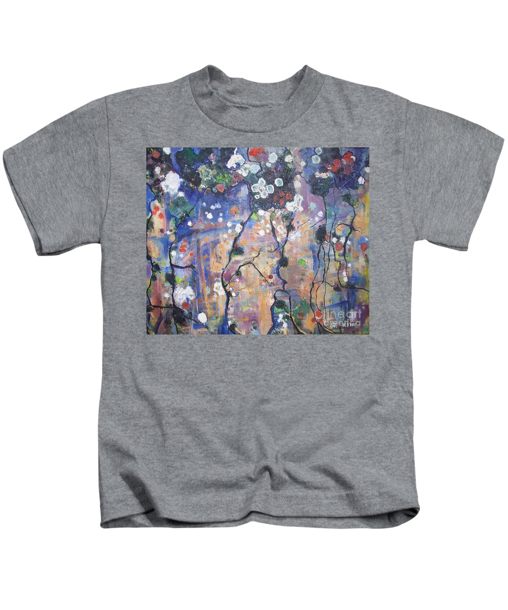 Lichen Paintings Kids T-Shirt featuring the painting Lichen by Seon-Jeong Kim
