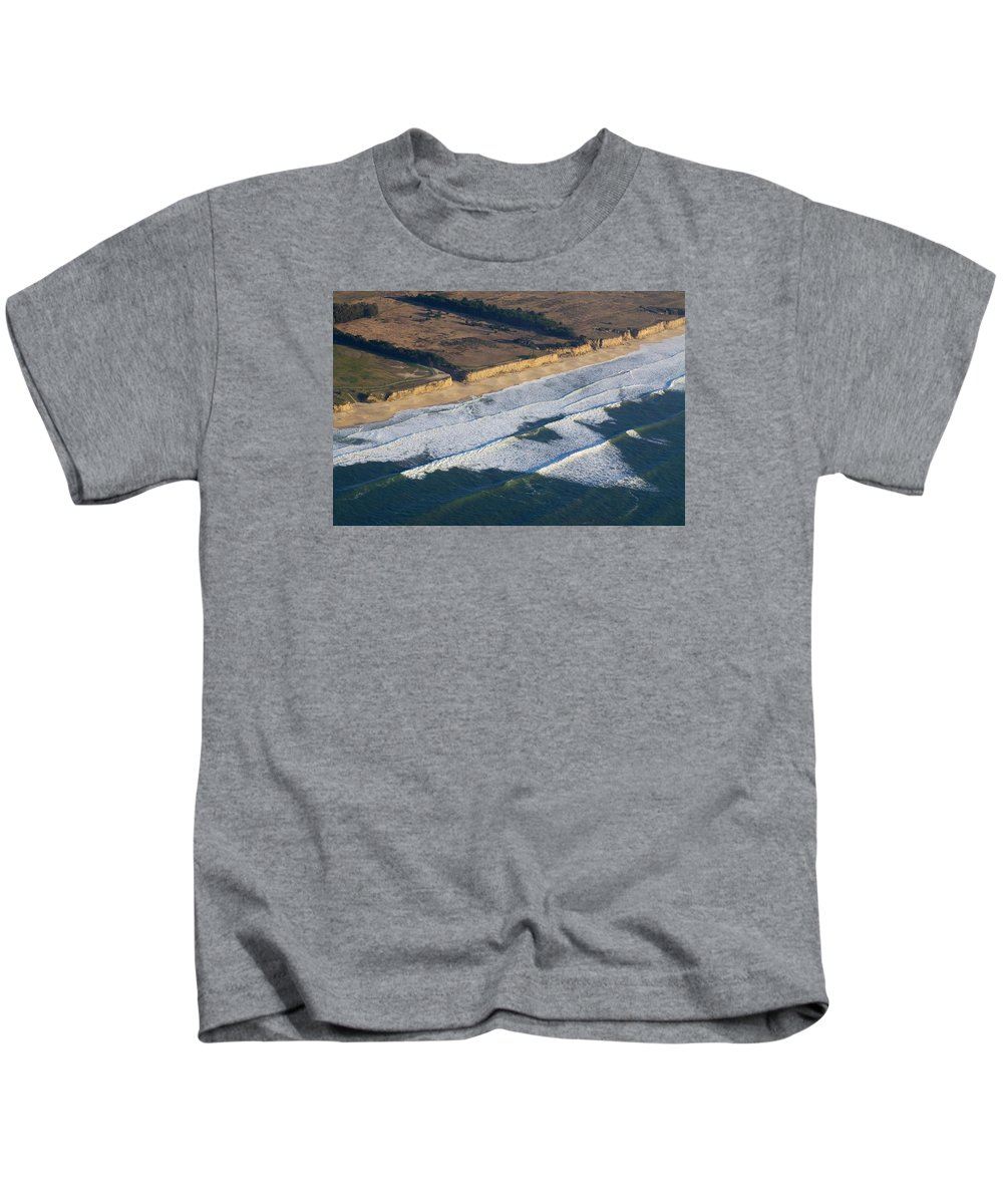 Aerial Kids T-Shirt featuring the photograph Life's A Beach by Chris Saulit