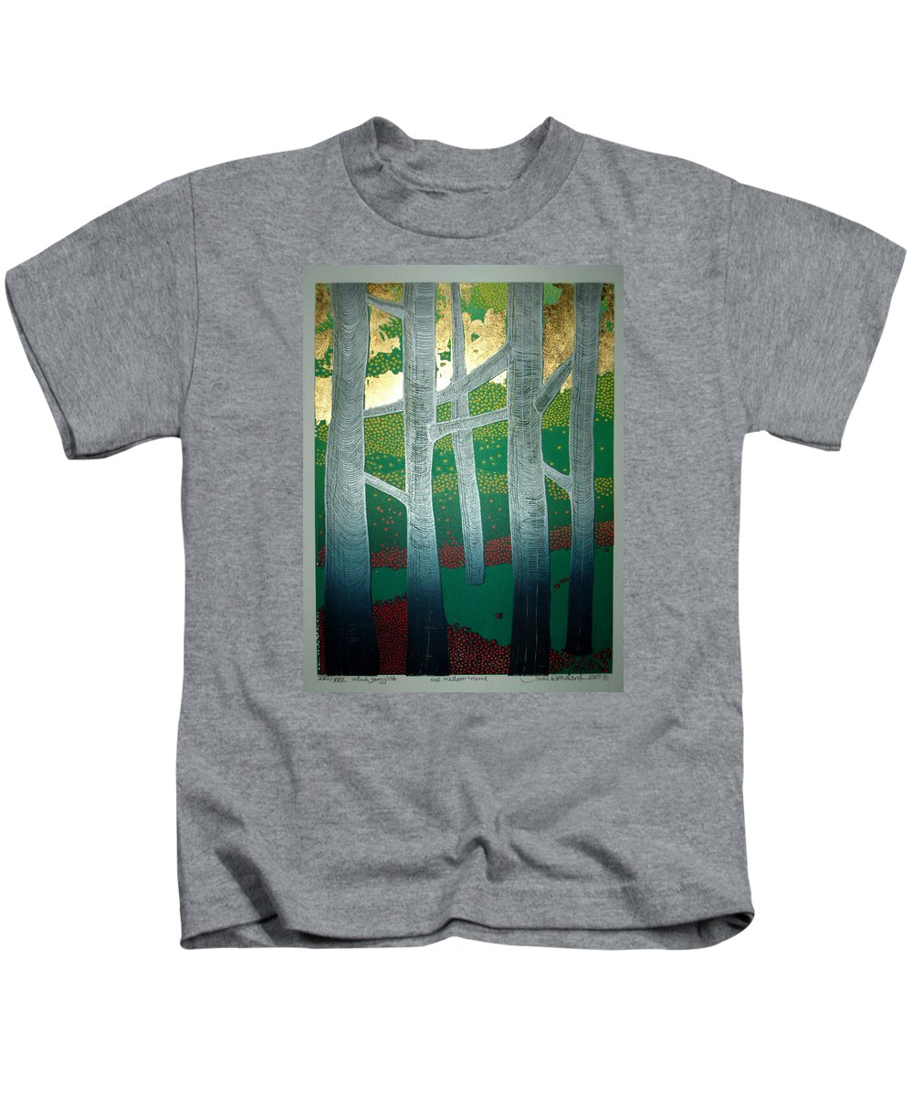 Landscape Kids T-Shirt featuring the mixed media Light Between The Trees by Jarle Rosseland