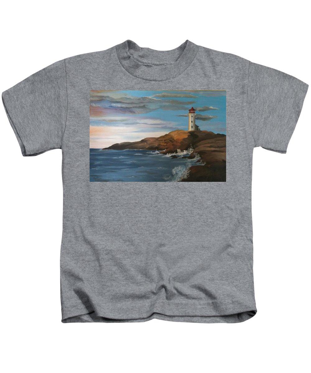 Landcape Kids T-Shirt featuring the painting Light House by Sarojinie De Silva