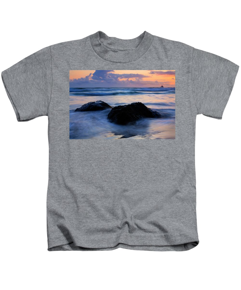 Lighthouse Kids T-Shirt featuring the photograph Light Of Dusk by Mike Dawson