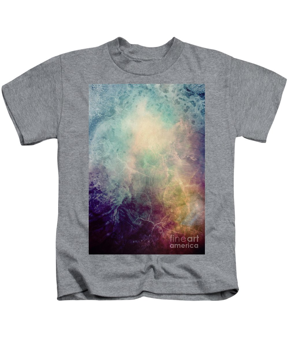 Abstract Painting Kids T-Shirt featuring the painting Light Of Life Abstract Painting by Justyna JBJart