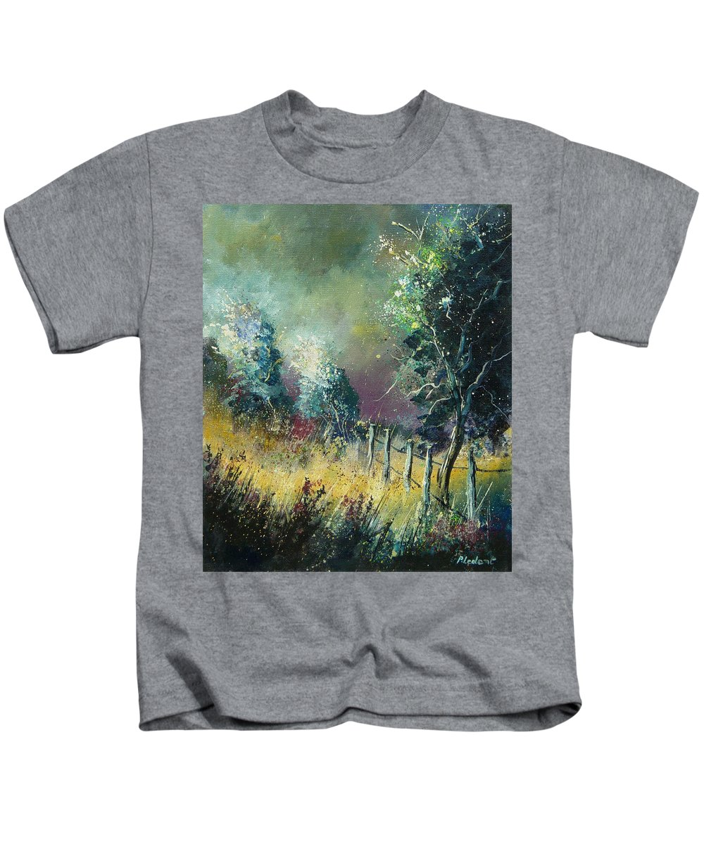 Landscape Kids T-Shirt featuring the painting Light On Trees by Pol Ledent