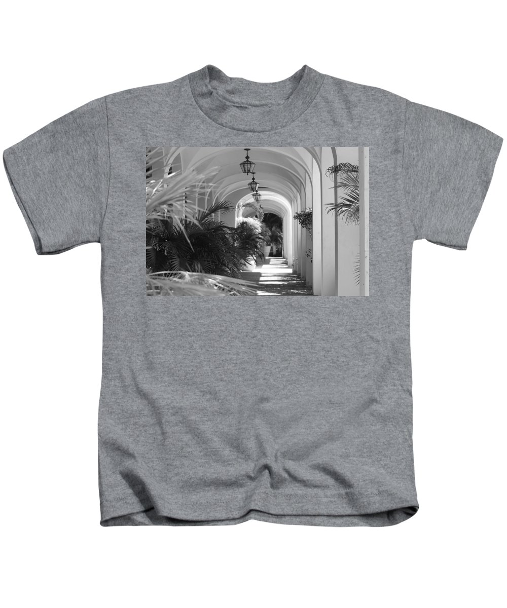 Architecture Kids T-Shirt featuring the photograph Lighted Arches by Rob Hans