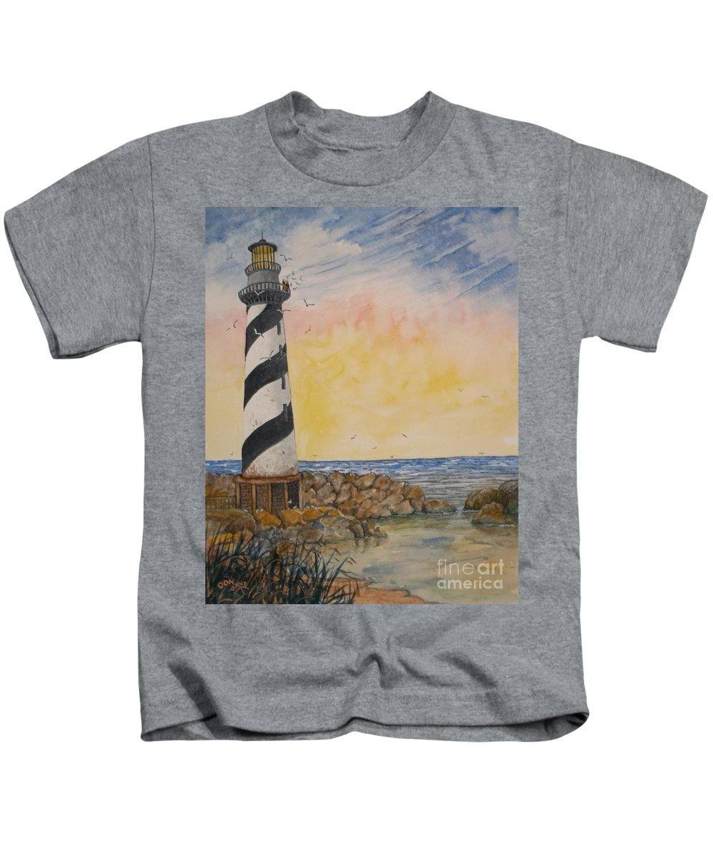Landscape Kids T-Shirt featuring the painting Lighthouse by Don Hand