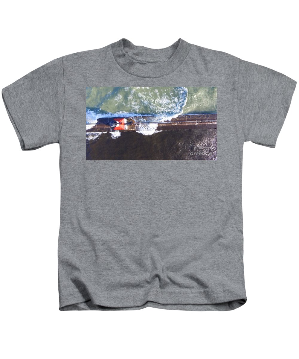 Benton Harbor Michigan Lighthouse Kids T-Shirt featuring the photograph Lighthouse by Timeless Aerial Photography LLC
