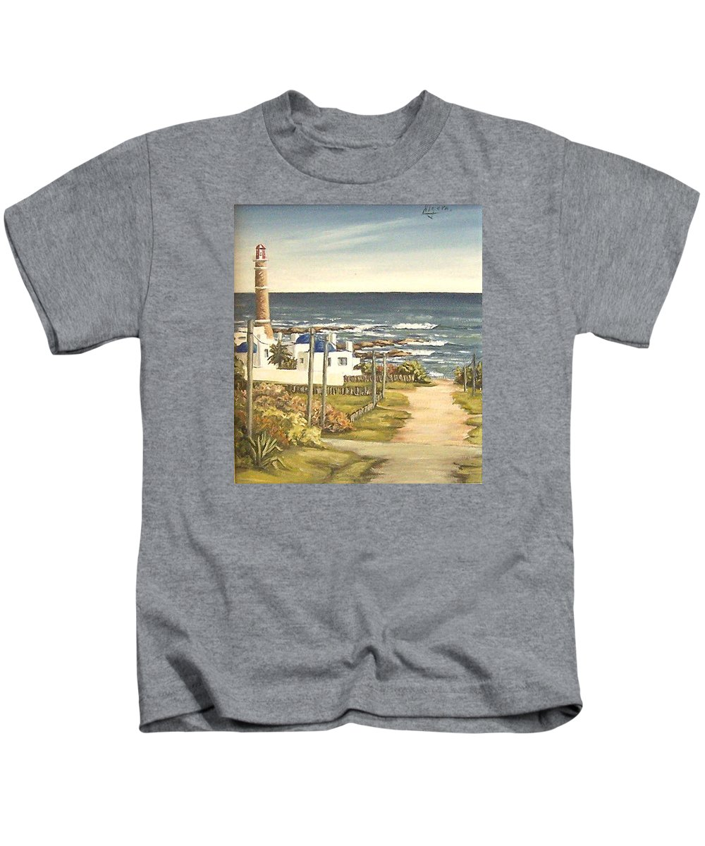 Lighthouse Seascape Sea Water Uruguay Kids T-Shirt featuring the painting Lighthouse Uruguay by Natalia Tejera